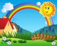 Paisaje con Sun y el arco iris Fotografía de archivo libre de regalías