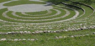 Paisaje con un anfiteatro de piedra Foto de archivo
