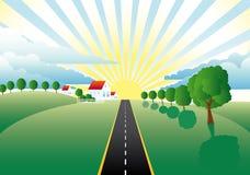 Paisaje con un camino a través de los prados stock de ilustración