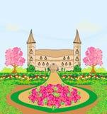 Paisaje con un castillo hermoso y los jardines Imágenes de archivo libres de regalías
