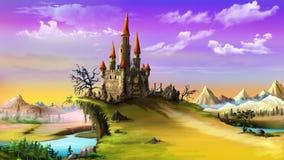 Paisaje con un castillo mágico ilustración del vector