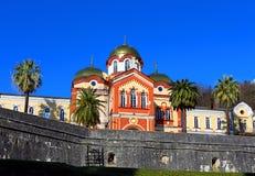 Paisaje con un monasterio de antaño Fotos de archivo libres de regalías