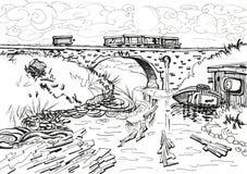 Paisaje con un puente y un río. Fotos de archivo libres de regalías