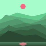 Paisaje con un sol en montañas stock de ilustración