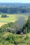 Paisaje con un tren del vapor Fotografía de archivo