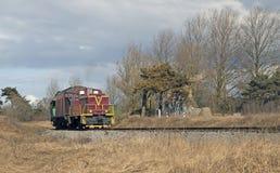 Paisaje con una locomotora Foto de archivo libre de regalías