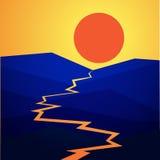 Paisaje con una puesta del sol en montañas stock de ilustración