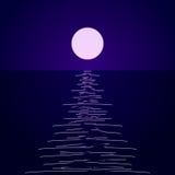 Paisaje con una trayectoria lunar stock de ilustración