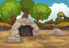 Paisaje con vector de la cueva stock de ilustración