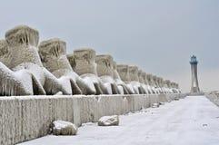 Paisaje congelado del faro Imagen de archivo libre de regalías