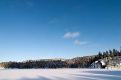 Paisaje congelado del lago Imagen de archivo libre de regalías