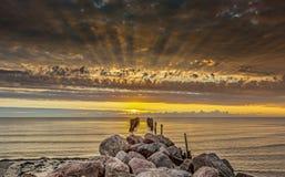 Paisaje costero en la salida del sol, Jurmala, Letonia Imágenes de archivo libres de regalías