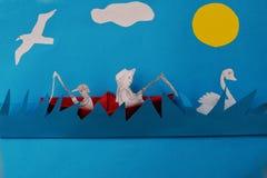Paisaje creado del papel coloreado Imagenes de archivo