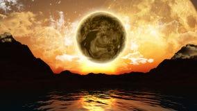 paisaje 3D con los planetas y el océano Fotografía de archivo libre de regalías