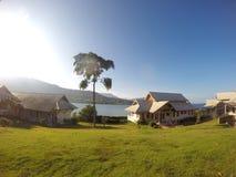 Paisaje de alojamientos en Laos Imagen de archivo libre de regalías