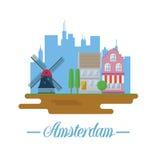 Paisaje de Amsterdam en diseño plano Fotografía de archivo