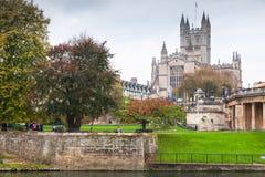 Paisaje de Avon del río con la abadía del baño Fotos de archivo libres de regalías