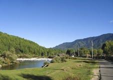 Paisaje de Bhután central en Jakar, Bumthang fotografía de archivo libre de regalías