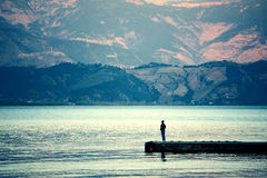 Paisaje de Yunnan, China, lago Lugu Fotografía de archivo libre de regalías