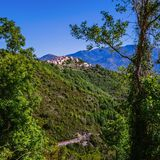 Paisaje de Corse cerca de Corse, Francia Imágenes de archivo libres de regalías
