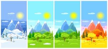 Paisaje de cuatro estaciones Banderas con los árboles, las montañas y las colinas en el invierno, primavera, verano, otoño Fotografía de archivo