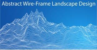 paisaje de 3D Wireframe Vector Fotos de archivo libres de regalías