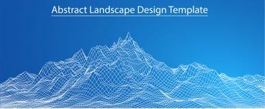 paisaje de 3D Wireframe Vector Foto de archivo