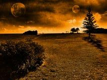 Paisaje de dos lunas Imagen de archivo libre de regalías