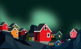 Paisaje de Groenlandia con aurora borealis stock de ilustración
