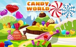 Paisaje de hadas del mundo dulce del caramelo, panorama Dulces, caramelos, caramelo Fondo del juego de la historieta Ilustraci?n  ilustración del vector