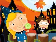 Paisaje de Halloween de la historieta Imagenes de archivo