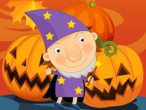 Paisaje de Halloween de la historieta Fotografía de archivo