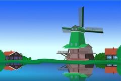 Paisaje de Holanda ilustración del vector