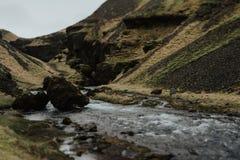 Paisaje de Islandia - el extremo de la cascada Foto de archivo libre de regalías