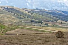 Paisaje de Italia de la umbra de Castelluccio Foto de archivo