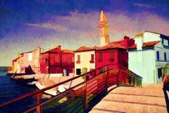 Paisaje de Italia Pintura al óleo stock de ilustración