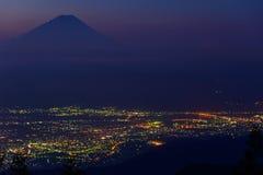 Paisaje de Kofu y del Mt fuji Imagen de archivo
