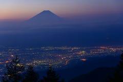 Paisaje de Kofu y del Mt fuji imágenes de archivo libres de regalías
