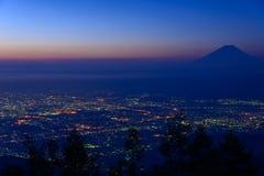 Paisaje de Kofu y del Mt fuji Imagenes de archivo