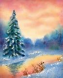 Paisaje de la acuarela Arroyo en bosque del invierno Fotografía de archivo libre de regalías