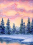 Paisaje de la acuarela Bosque congelado Foto de archivo libre de regalías