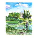 Paisaje de la acuarela con un pescador en el lago libre illustration
