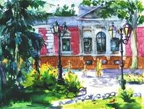 Paisaje de la acuarela de Odessa, Ucrania, ciudad del paisaje en fondo de la textura del papel de la acuarela Imagenes de archivo