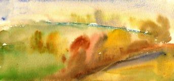 Paisaje de la acuarela del otoño Imagen de archivo libre de regalías