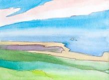Paisaje de la acuarela del verano con el cielo y las colinas Fotos de archivo libres de regalías