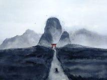 Paisaje de la acuarela el barco de navegación del hombre en el río a través del bosque en el valle misterioso de la puerta japone libre illustration