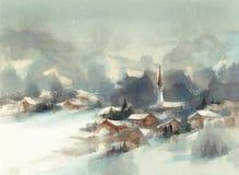 Paisaje de la acuarela de las montañas del invierno con los árboles y el valle ilustración del vector