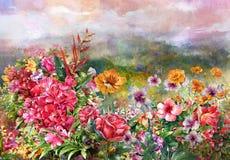 Paisaje de la acuarela multicolora de las flores Foto de archivo