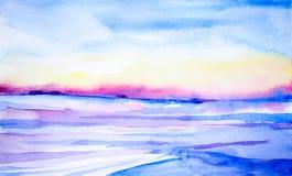 Paisaje de la acuarela puesta del sol hermosa del invierno en un campo limpio libre illustration