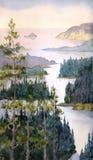 Paisaje de la acuarela Río del bosque spruce Imágenes de archivo libres de regalías